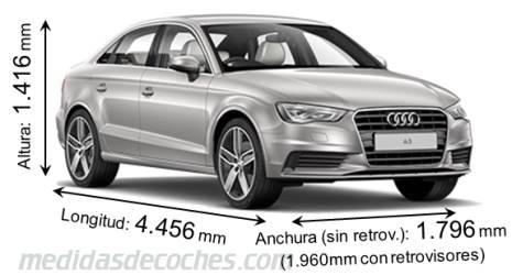 medidas audi a3 sedan 2013 maletero e interior. Black Bedroom Furniture Sets. Home Design Ideas