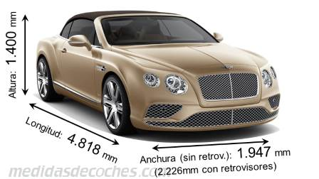 Bentley Continental GT Convertible cotas en mm
