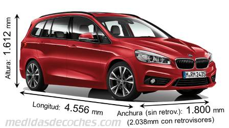BMW Serie 2 Gran Tourer largo x ancho x alto
