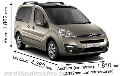 Dimensiones Citroen Berlingo Multispace 2015 con longitud, anchura y altura