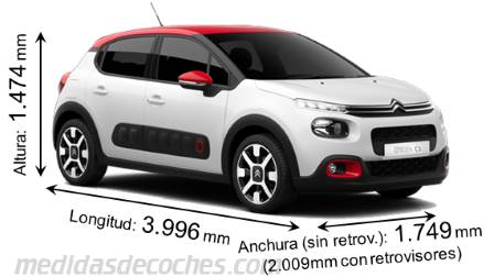 Citroën C3 cotas en mm