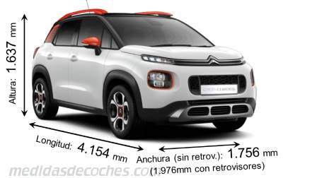 Citroën C3 Aircross largo x ancho x alto