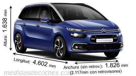 medidas citroen grand c4 picasso 2016 maletero e interior. Black Bedroom Furniture Sets. Home Design Ideas