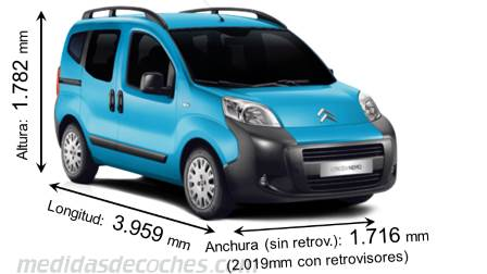 Citroën Nemo Multispace largo x ancho x alto
