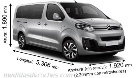 Dimensiones Citroen SpaceTourer XL 2016 con longitud, anchura y altura