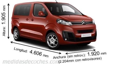 Citroën SpaceTourer XS cotas en mm