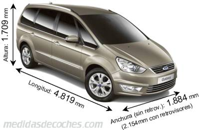 Ford Galaxy largo x ancho x alto