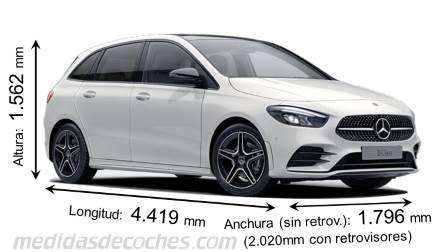 Mercedes-Benz Clase B Sports Tourer largo x ancho x alto