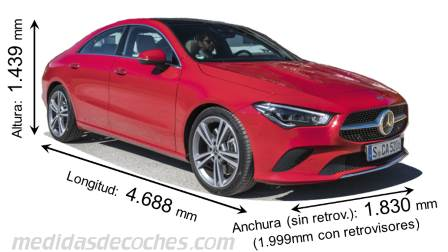 Mercedes-Benz CLA Coupé largo x ancho x alto