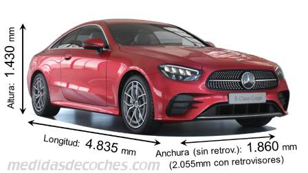 Mercedes-Benz Clase E Coupé largo x ancho x alto