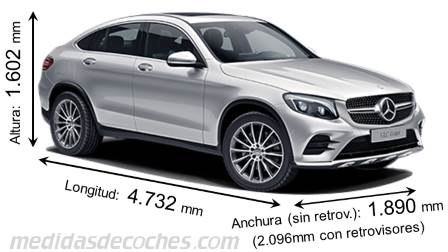 Mercedes-Benz GLC Coupé largo x ancho x alto