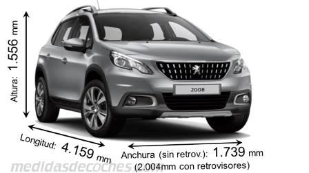 medidas y dimensiones de coches marca peugeot