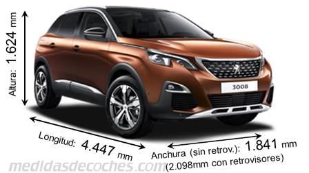 Medidas Peugeot 3008 2017, maletero e interior
