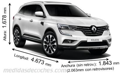 medidas renault koleos 2017 maletero e interior. Black Bedroom Furniture Sets. Home Design Ideas
