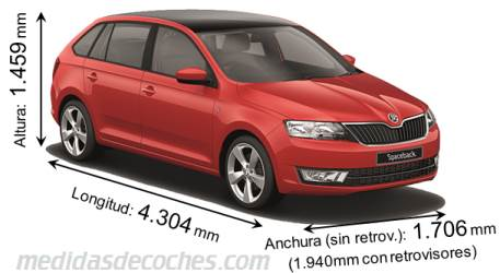 Škoda Spaceback largo x ancho x alto