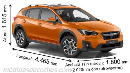 Medidas Subaru XV 2018, maletero e interior