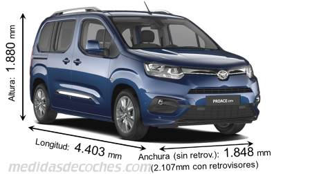 Toyota Proace City Verso Media cotas en mm