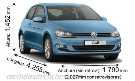Volkswagen Golf largo x ancho x alto