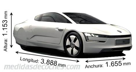 Volkswagen XL1 cotas en mm